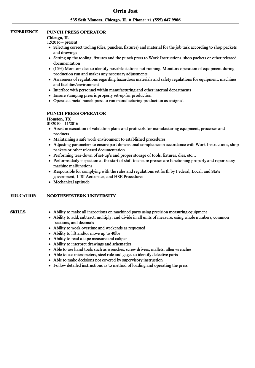 punch press operator resume samples