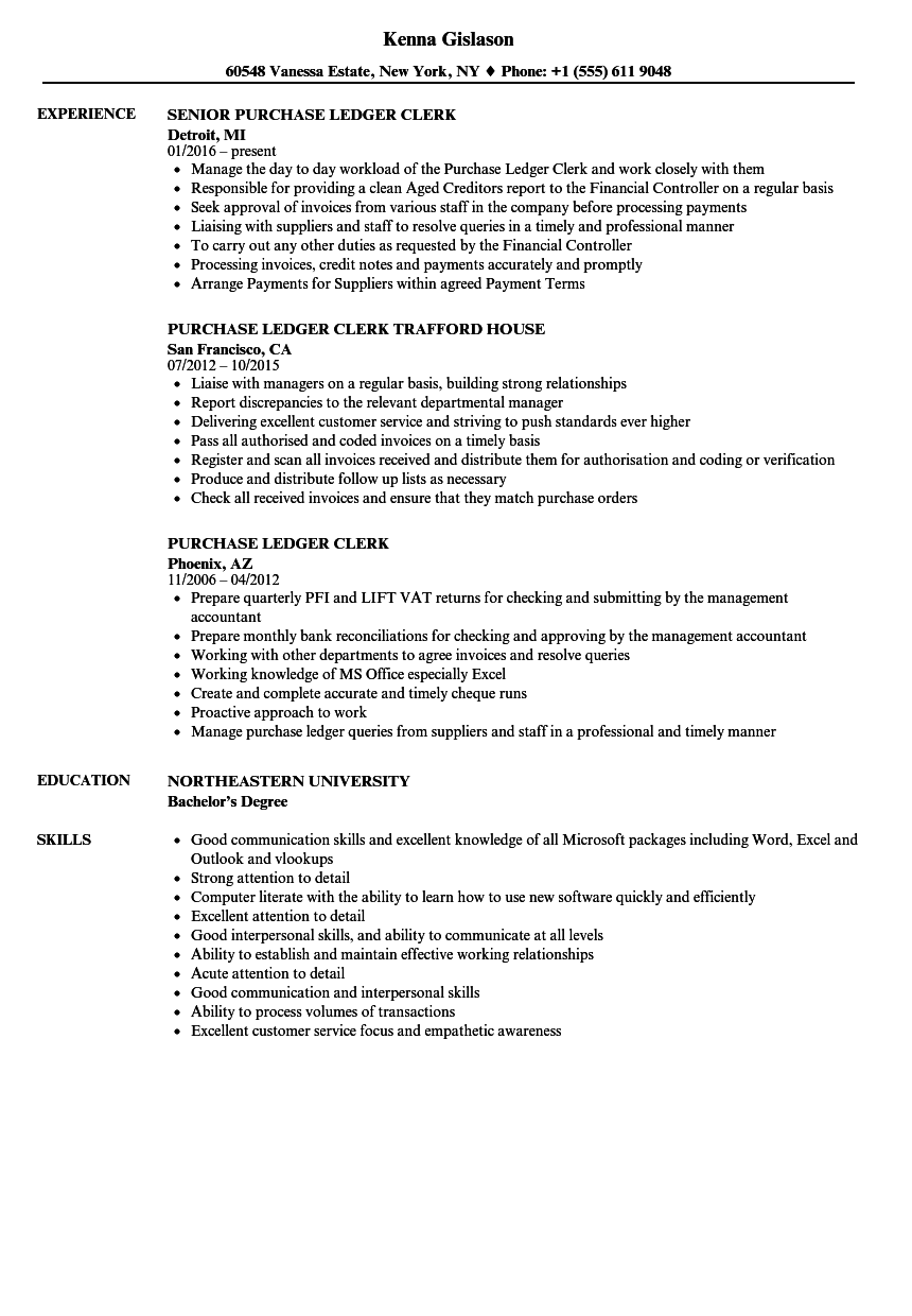 Purchase Ledger Clerk Resume Samples | Velvet Jobs