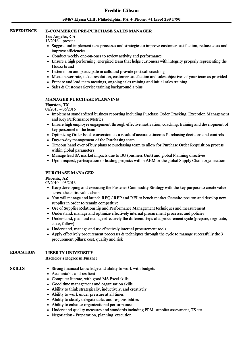 Purchase Manager Resume Samples | Velvet Jobs