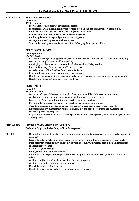 Purchaser Resume Samples Velvet Jobs
