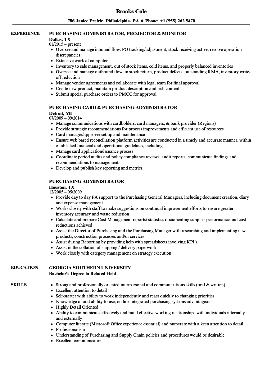 Download Purchasing Administrator Resume Sample As Image File