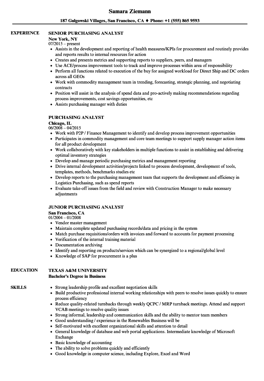 Purchasing Analyst Resume Samples | Velvet Jobs