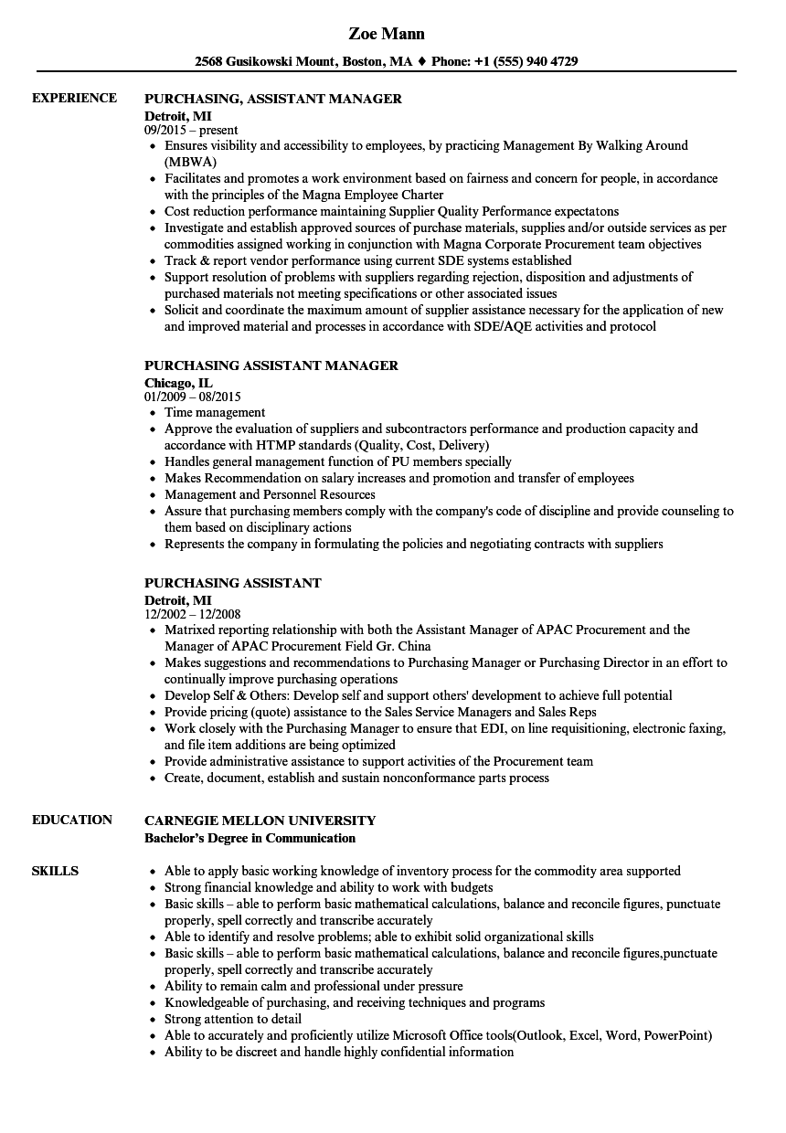 Purchasing Assistant Resume Samples | Velvet Jobs