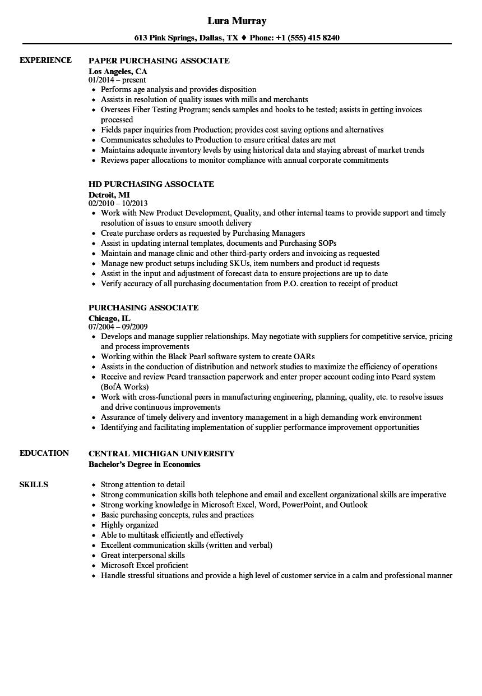 Purchasing Associate Resume Samples | Velvet Jobs