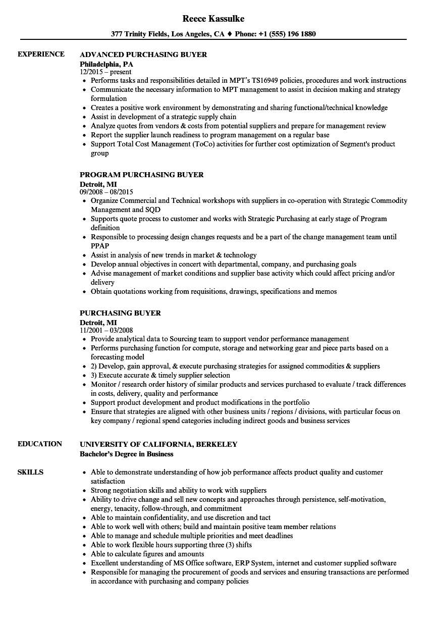 Purchasing Buyer Resume Samples | Velvet Jobs