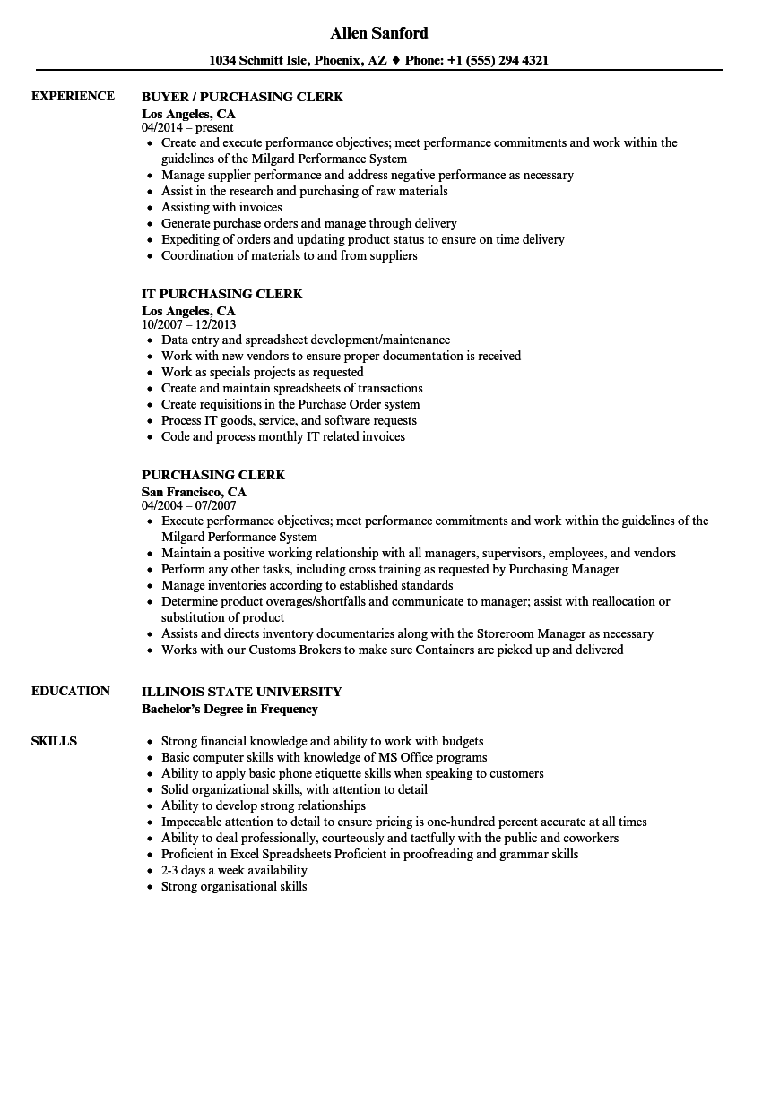 Purchasing Clerk Resume Samples | Velvet Jobs