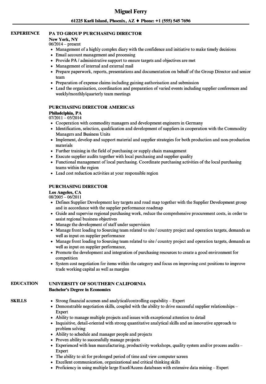 Purchasing Director Resume Samples | Velvet Jobs
