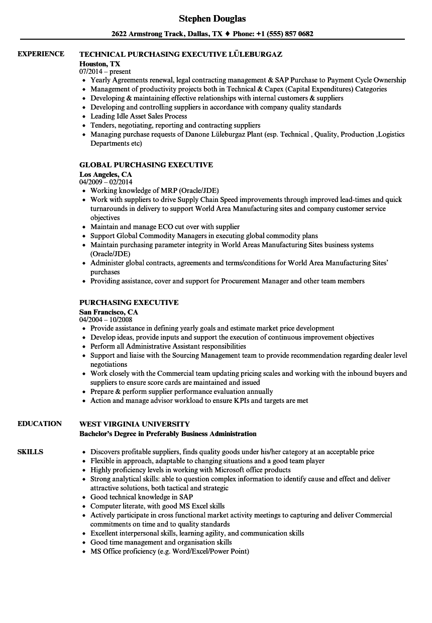 purchasing executive resume samples