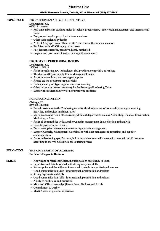 purchasing intern resume samples