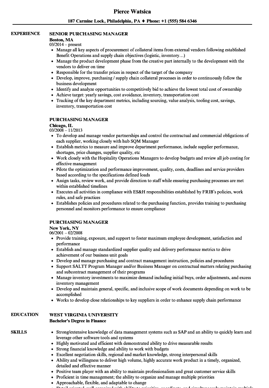 sample resume of purchase manager Idealvistalistco