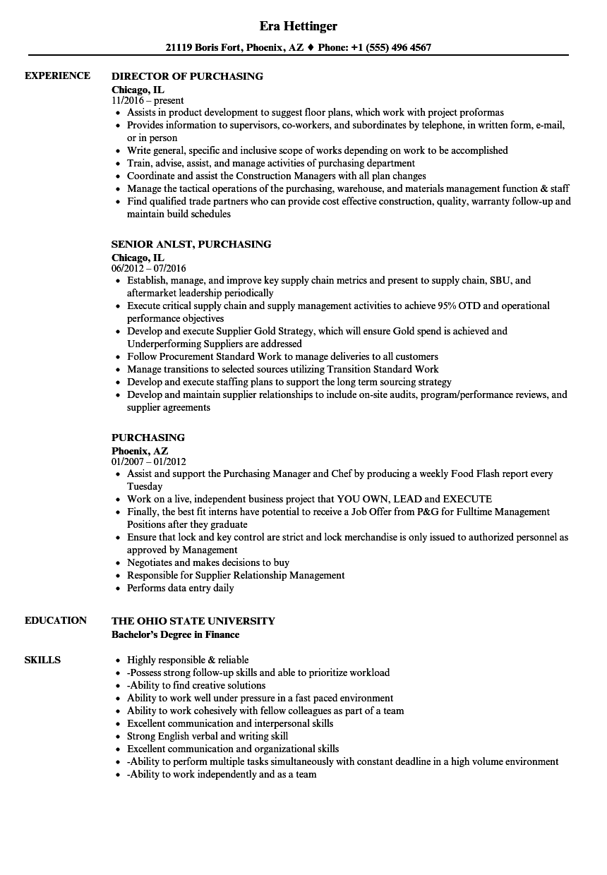 Purchasing Resume Samples Velvet Jobs