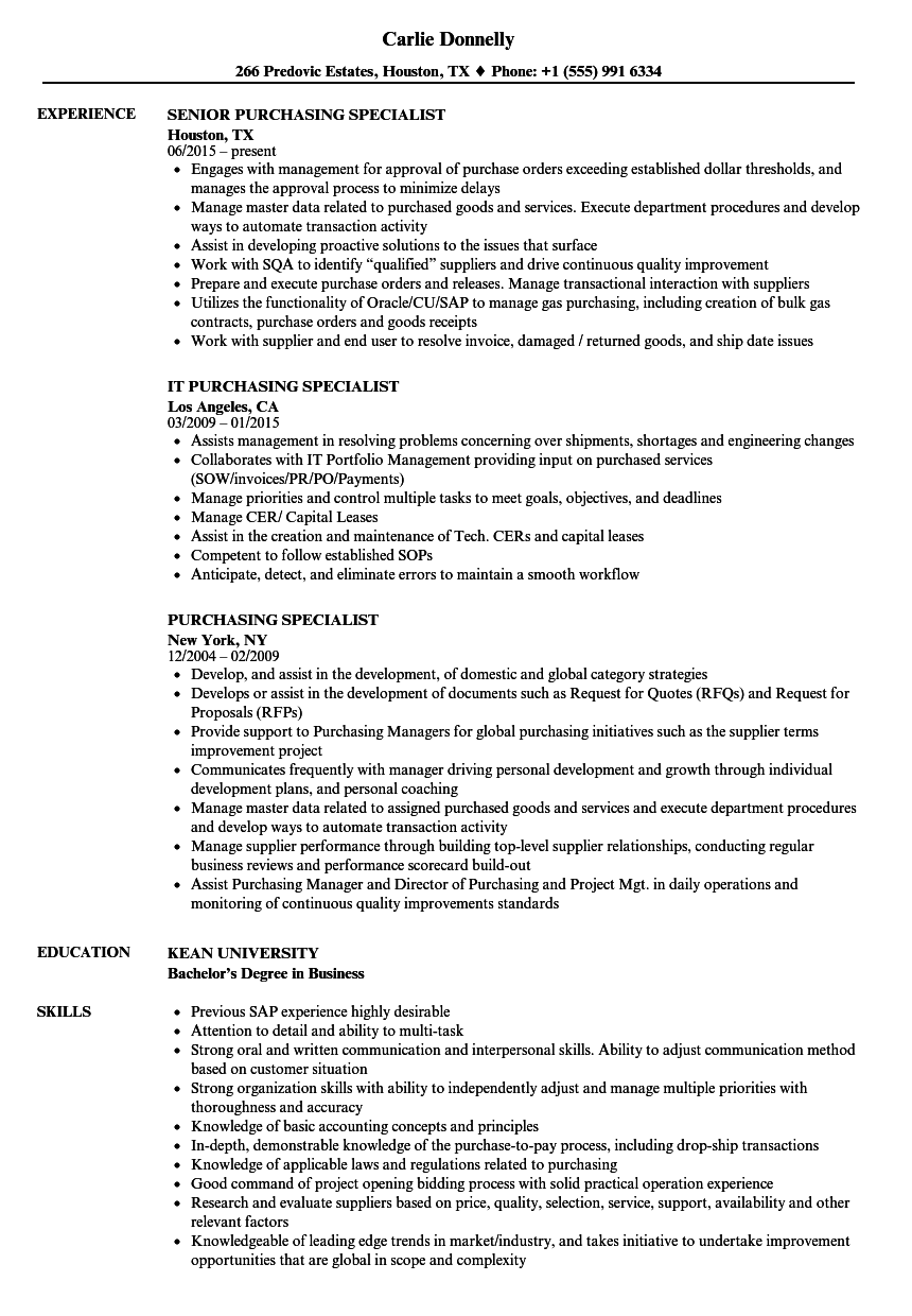 purchasing specialist resume samples