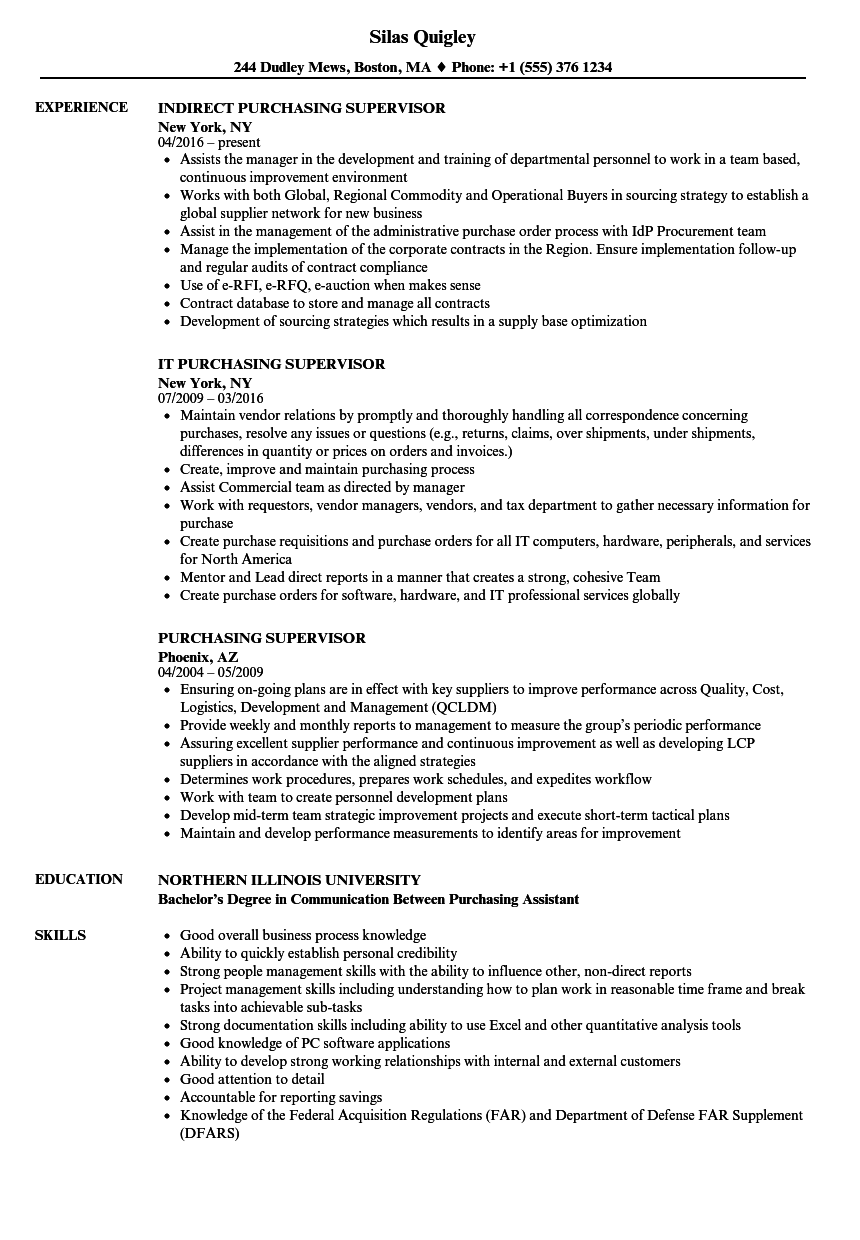 Purchasing Supervisor Resume Samples | Velvet Jobs