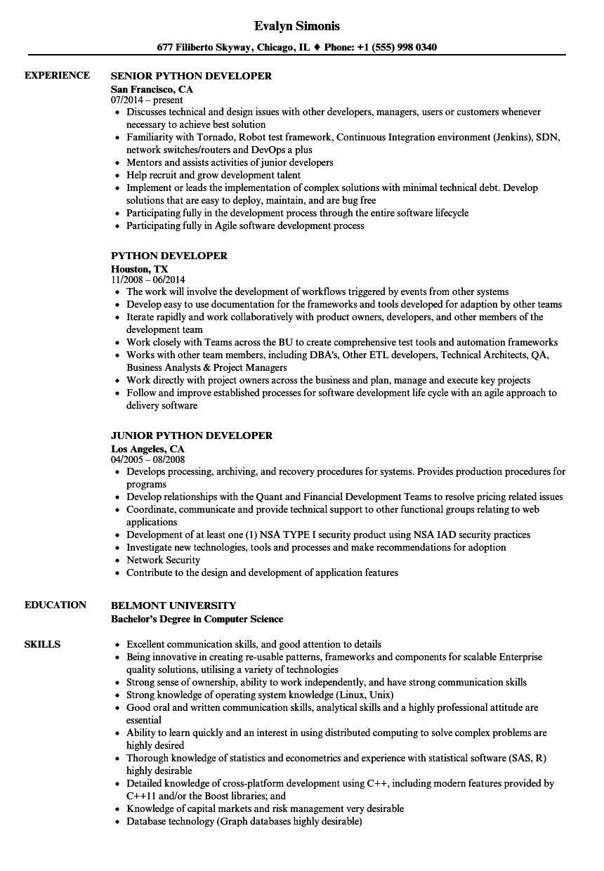 python developer resume samples velvet jobs - Python Developer Resume