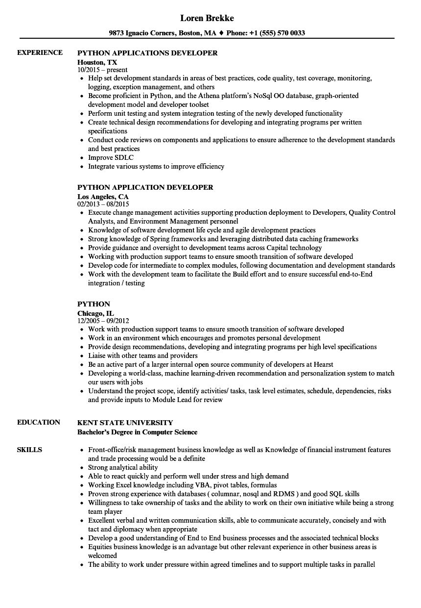 Velvet Jobs  Python Developer Resume