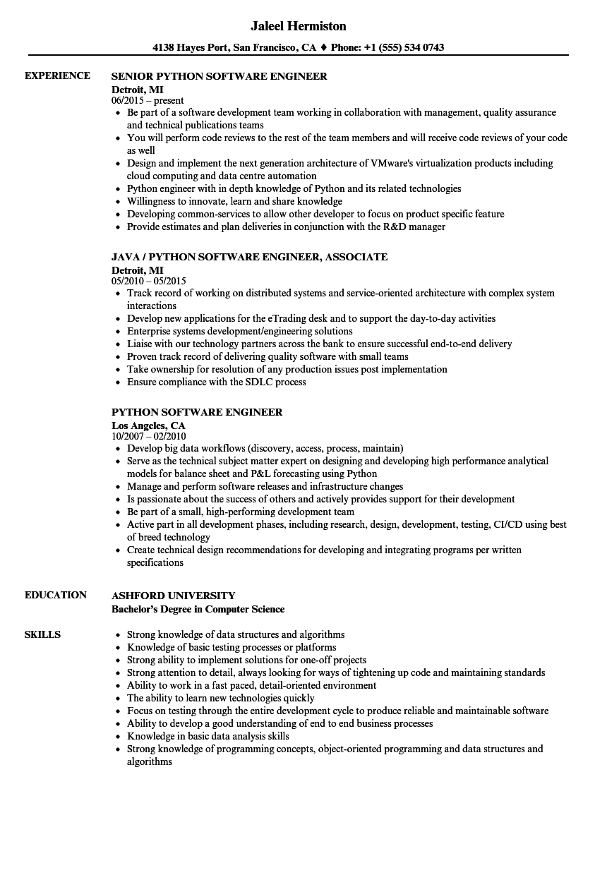 python software engineer resume samples velvet jobs