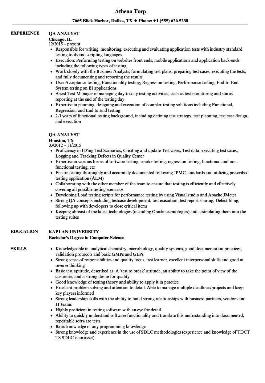 resume for quality assurance specialist