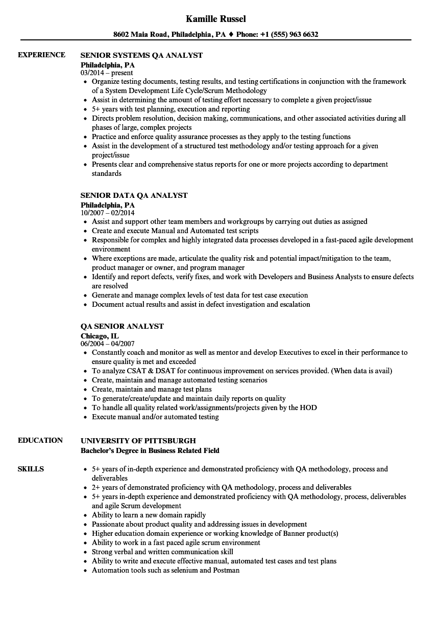 QA Analyst, Senior Resume Samples | Velvet Jobs