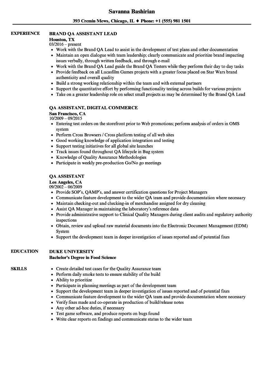 QA Assistant Resume Samples | Velvet Jobs