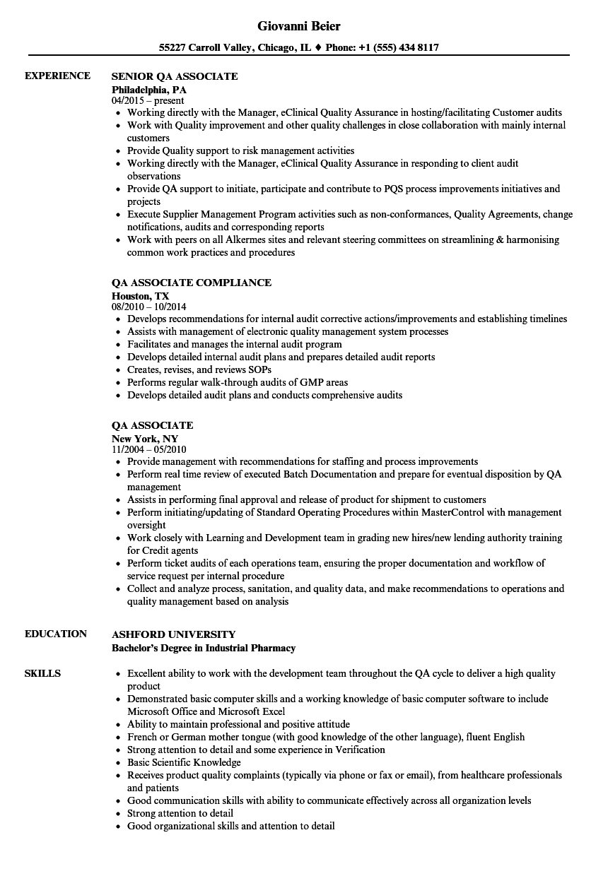 QA Associate Resume Samples | Velvet Jobs