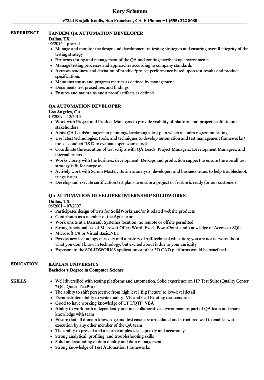 Qa Automation Developer Resume Samples Velvet Jobs
