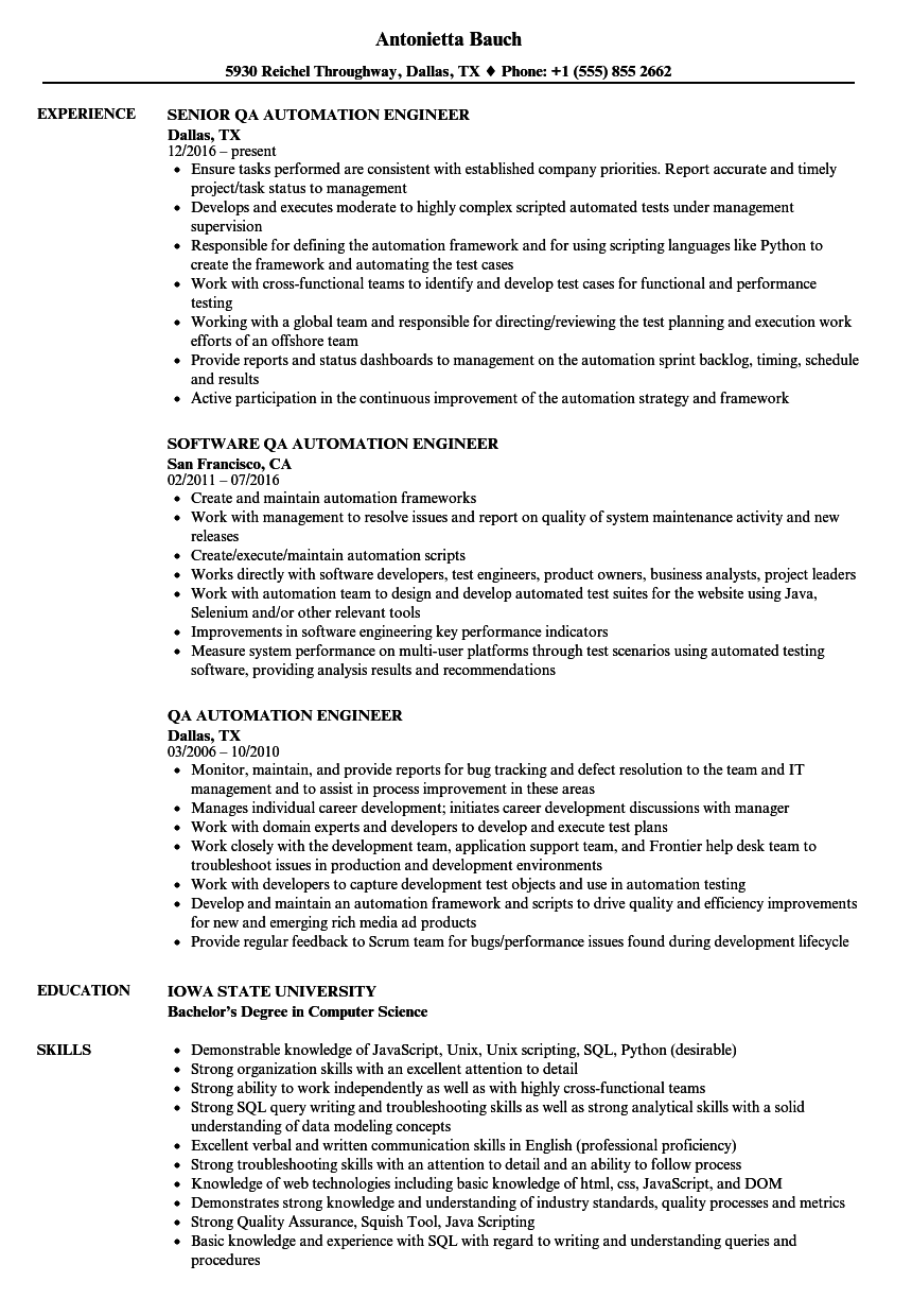 QA Automation Engineer Resume Samples | Velvet Jobs