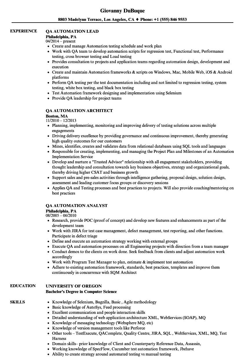 QA Automation Resume Samples | Velvet Jobs
