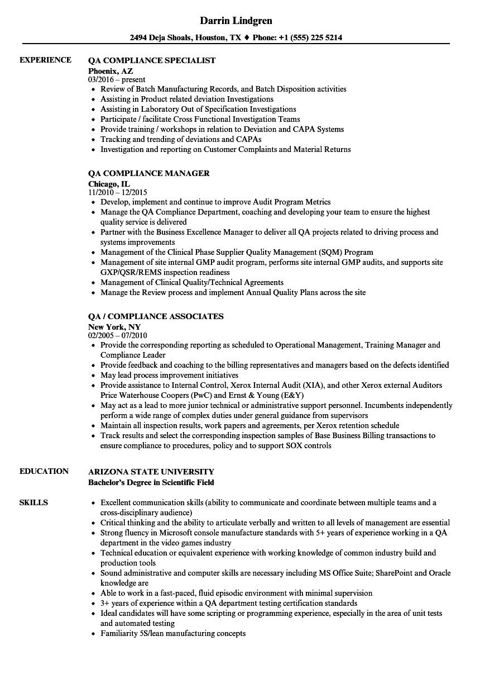 qa compliance resume samples