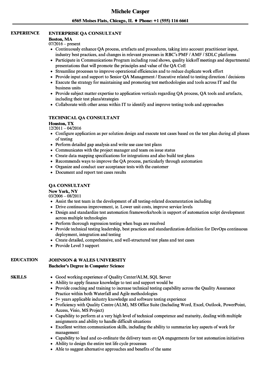 qa consultant resume samples
