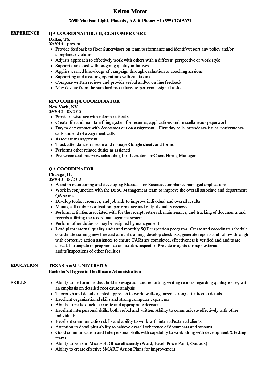 qa coordinator resume samples