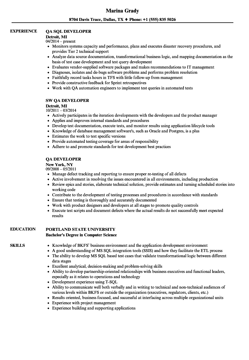 qa developer resume samples