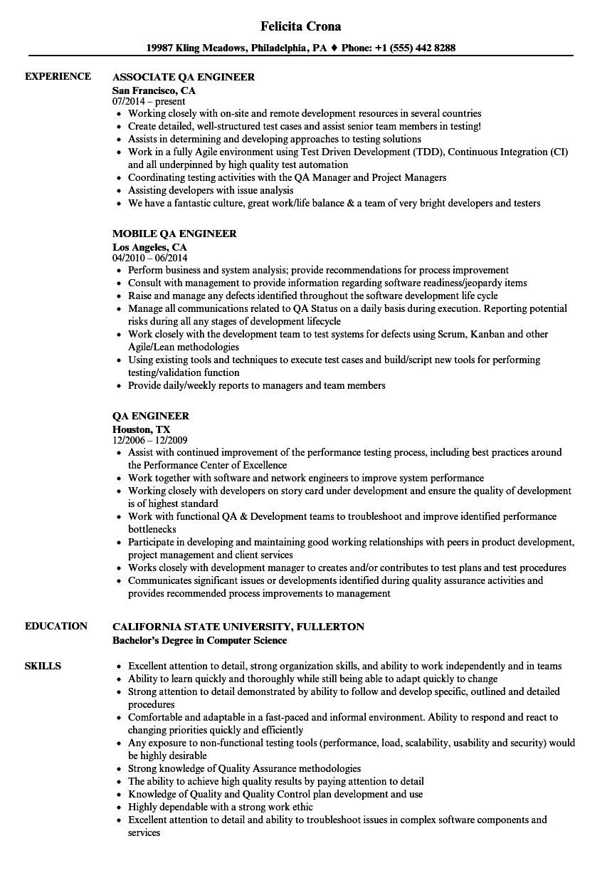 QA Engineer Resume Samples | Velvet Jobs