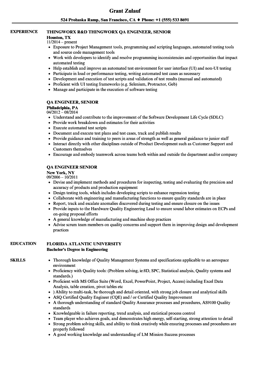 QA Engineer Senior Resume Samples | Velvet Jobs