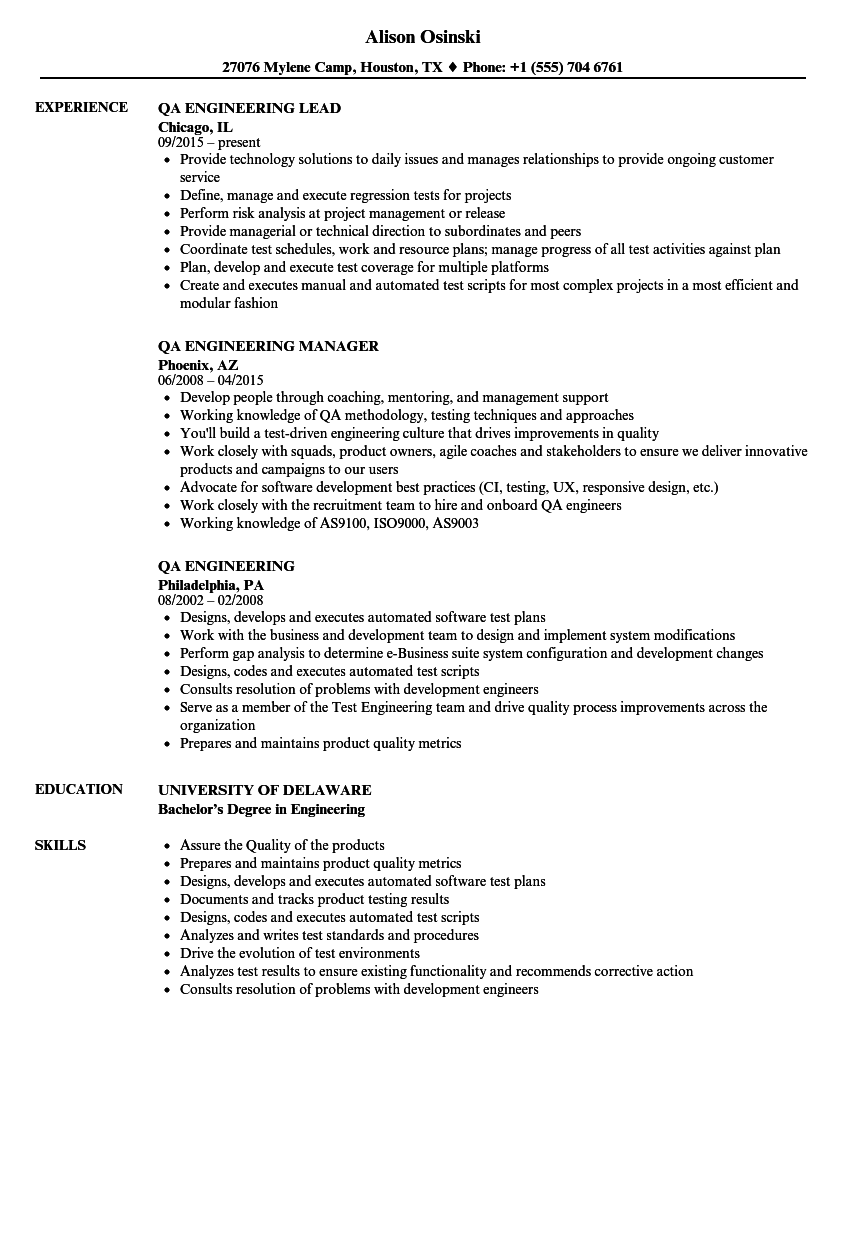 download qa engineering resume sample as image file - Qa Resume