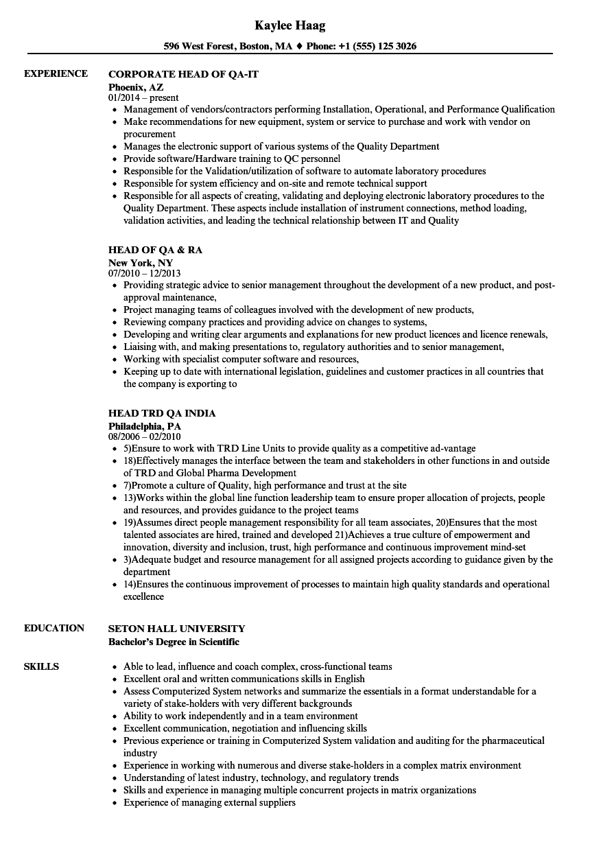 qa head resume samples