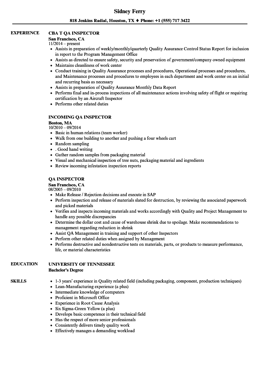 qa inspector resume samples
