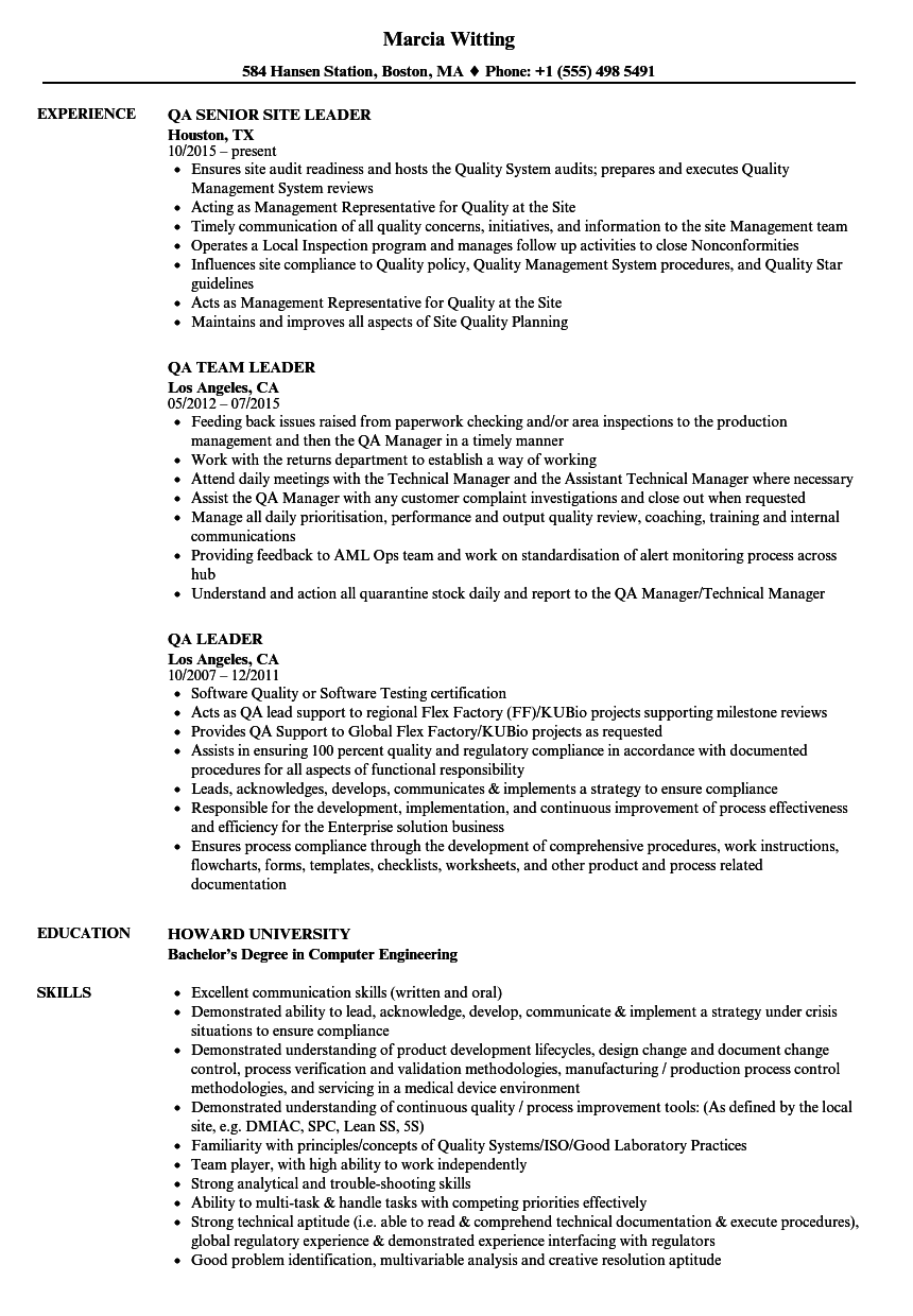 QA Leader Resume Samples | Velvet Jobs