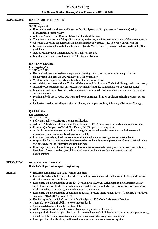 Qa Leader Resume Samples Velvet Jobs