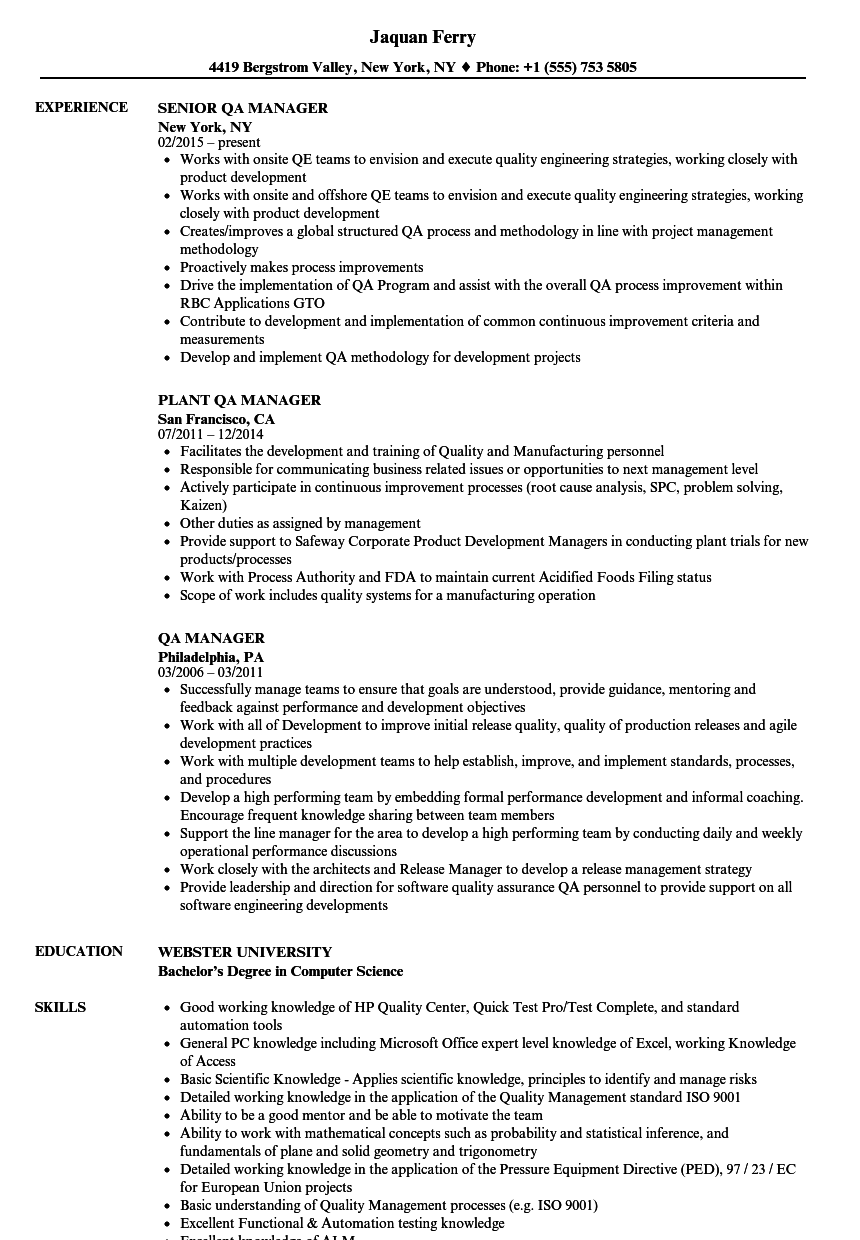 Qa Manager Resume Samples Velvet Jobs