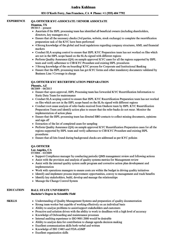 qa officer resume samples