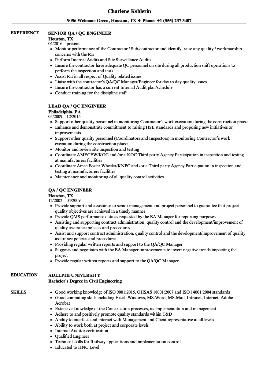 Qa Qc Engineer Resume Samples Velvet Jobs