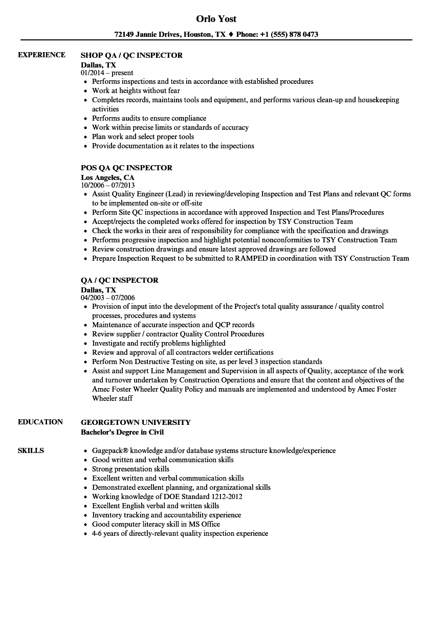 QA / QC Inspector Resume Samples | Velvet Jobs