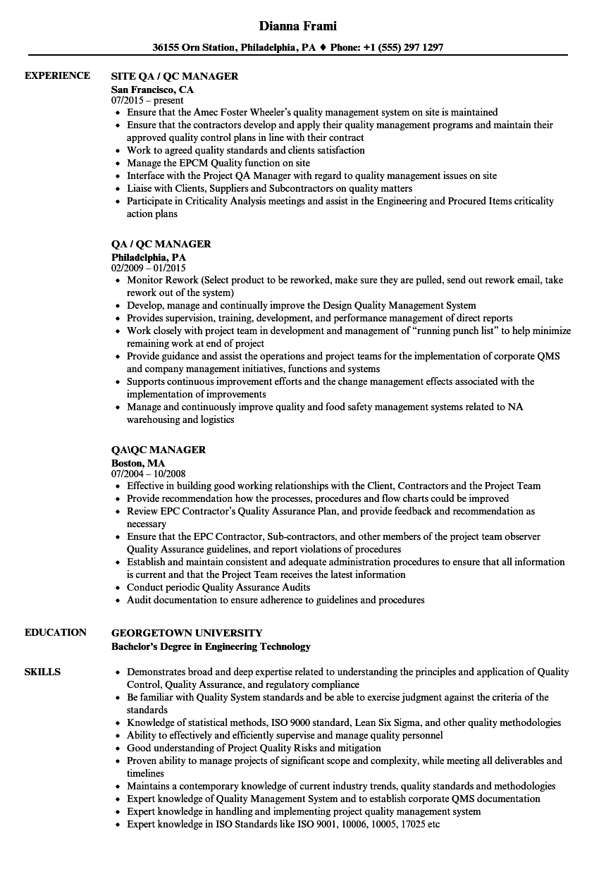 QA / QC Manager Resume Samples | Velvet Jobs