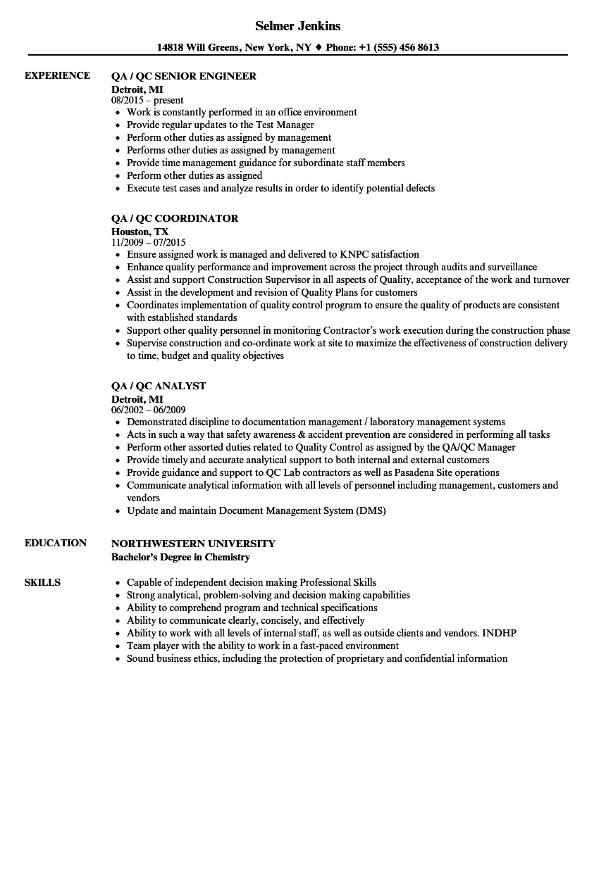 Qa Qc Resume Samples Velvet Jobs
