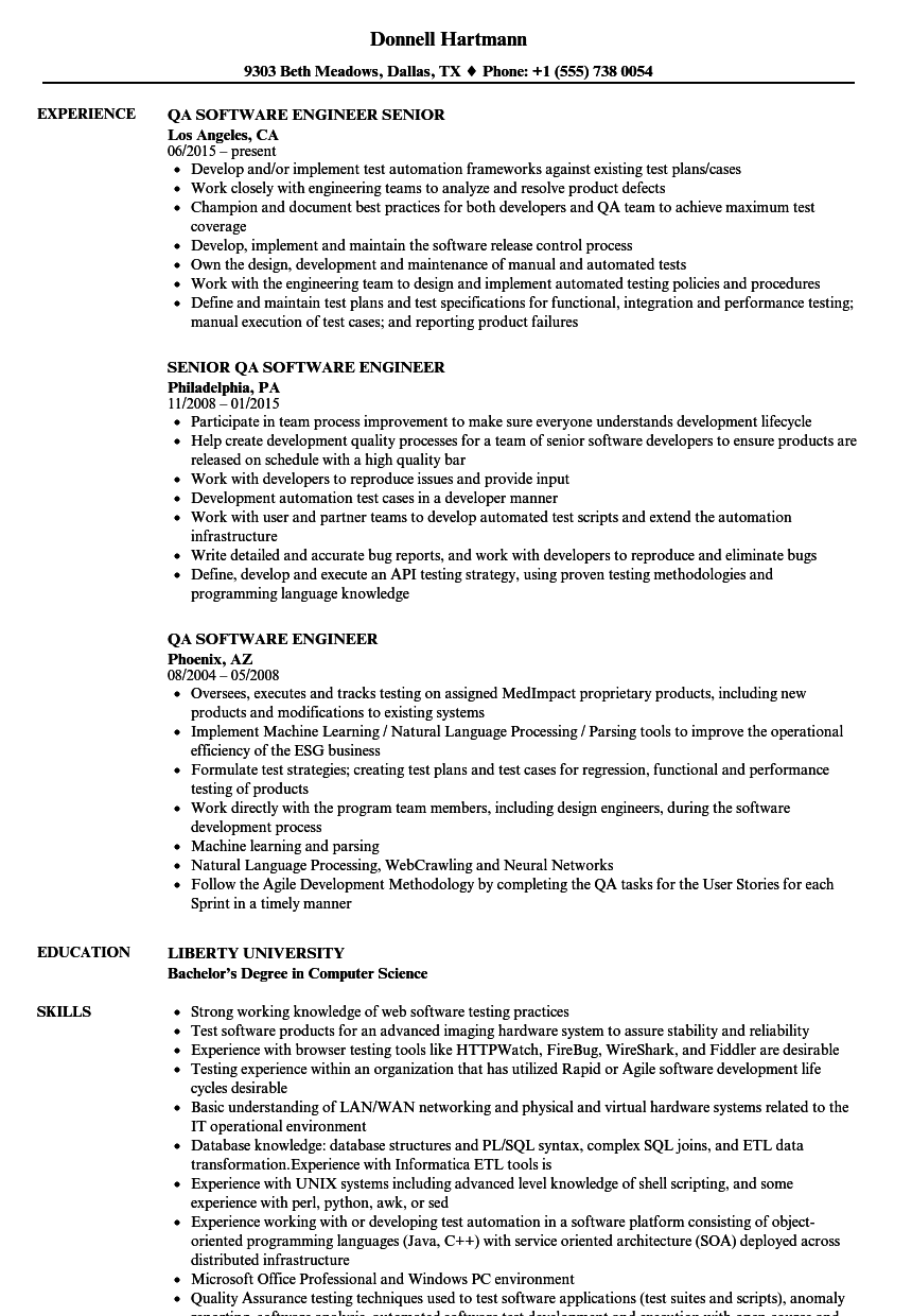 QA Software Engineer Resume Samples | Velvet Jobs