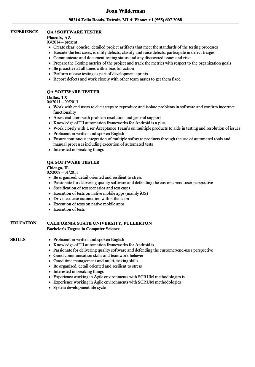 Qa Software Tester Resume Samples Velvet Jobs