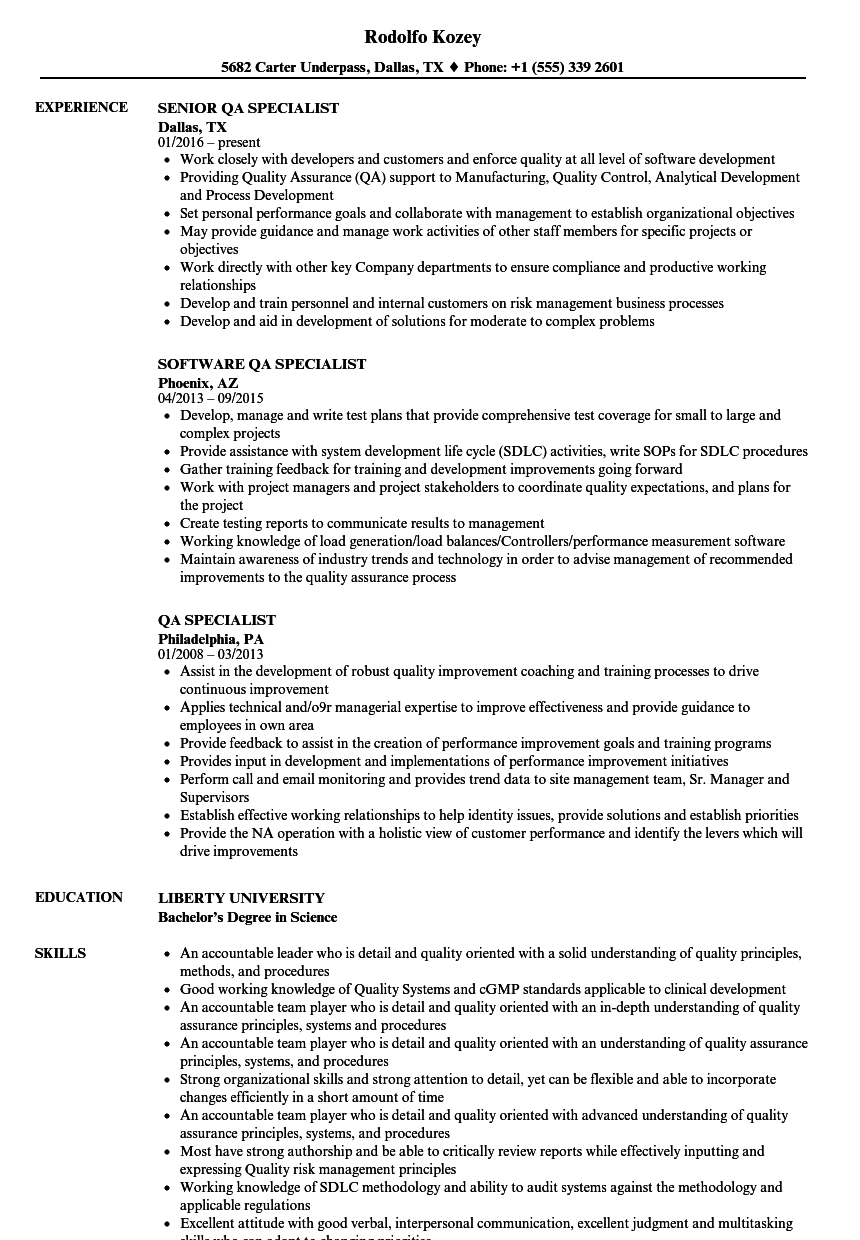 download qa specialist resume sample as image file - Qa Specialist Sample Resume