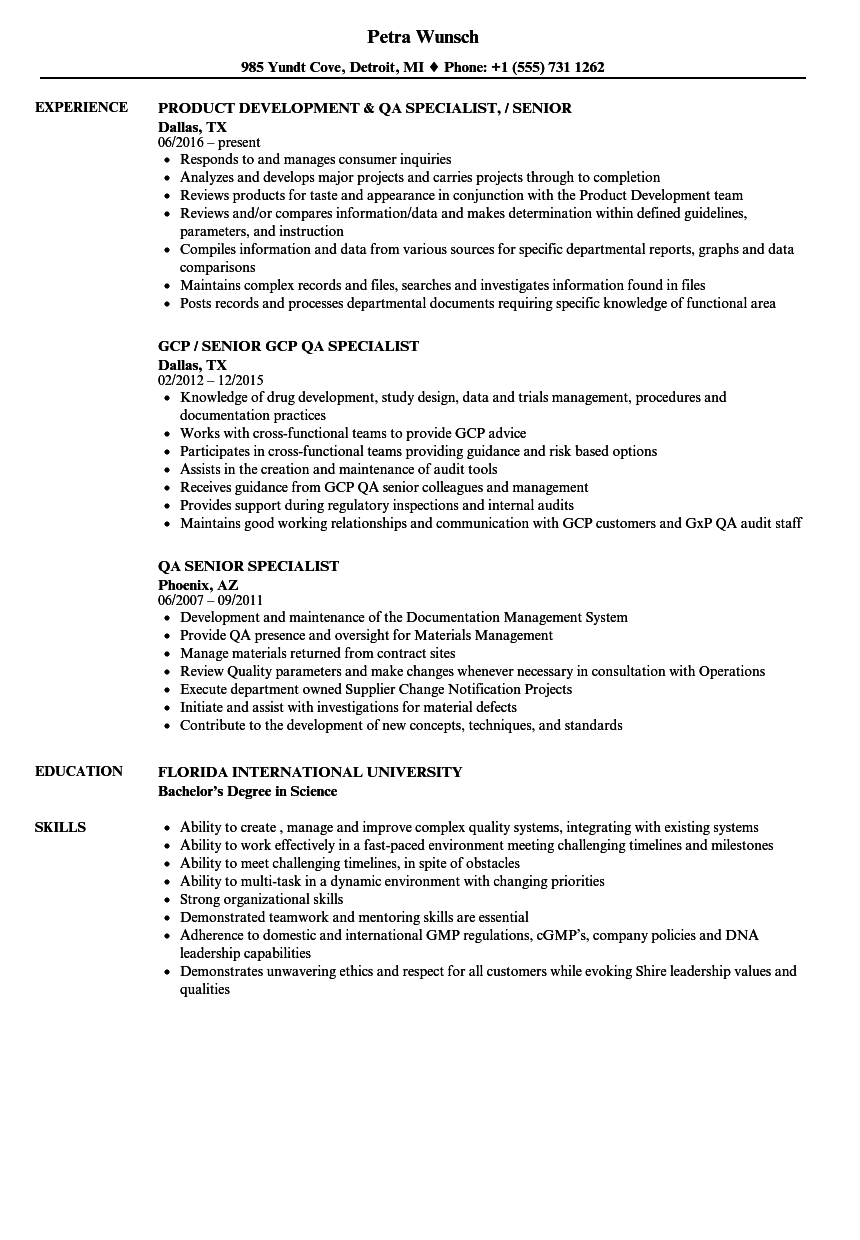 QA Specialist Senior Specialist Resume Samples Velvet Jobs