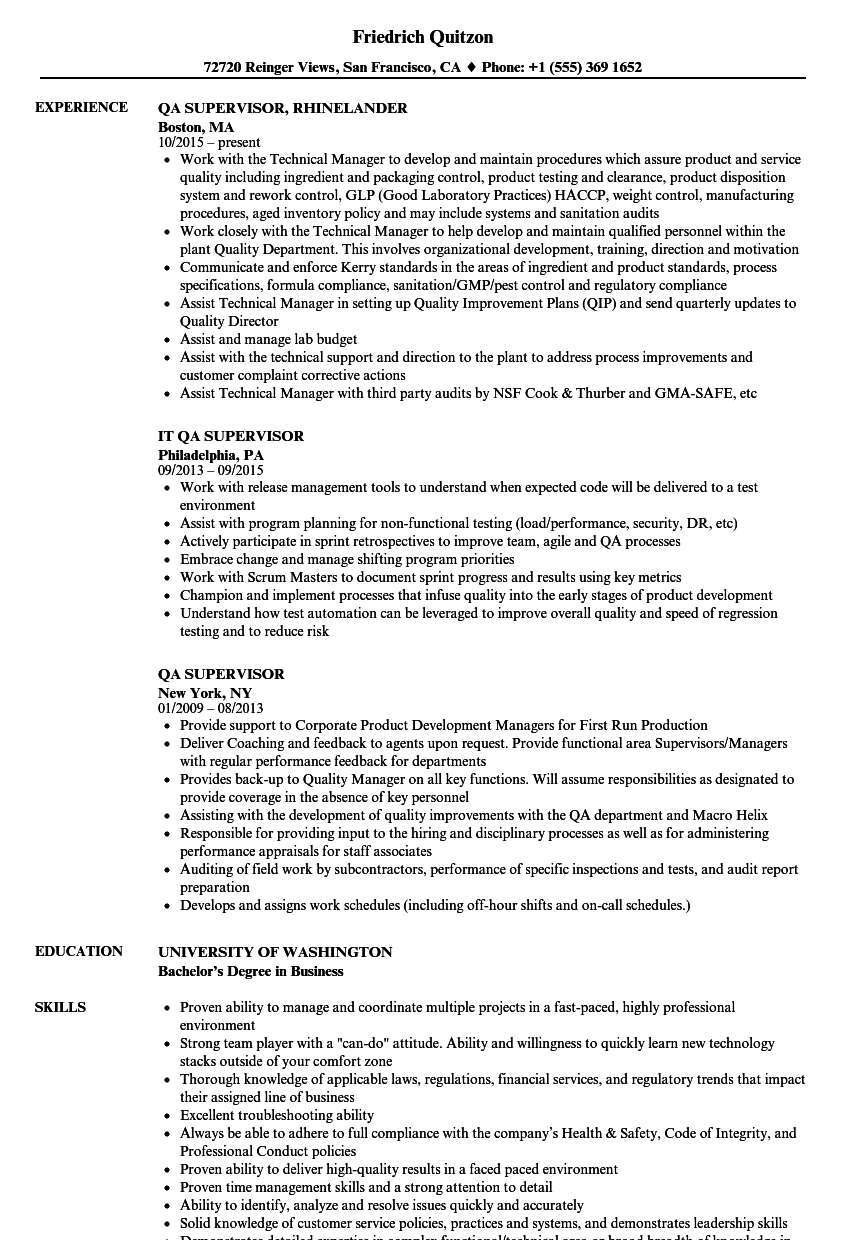 qa supervisor resume samples