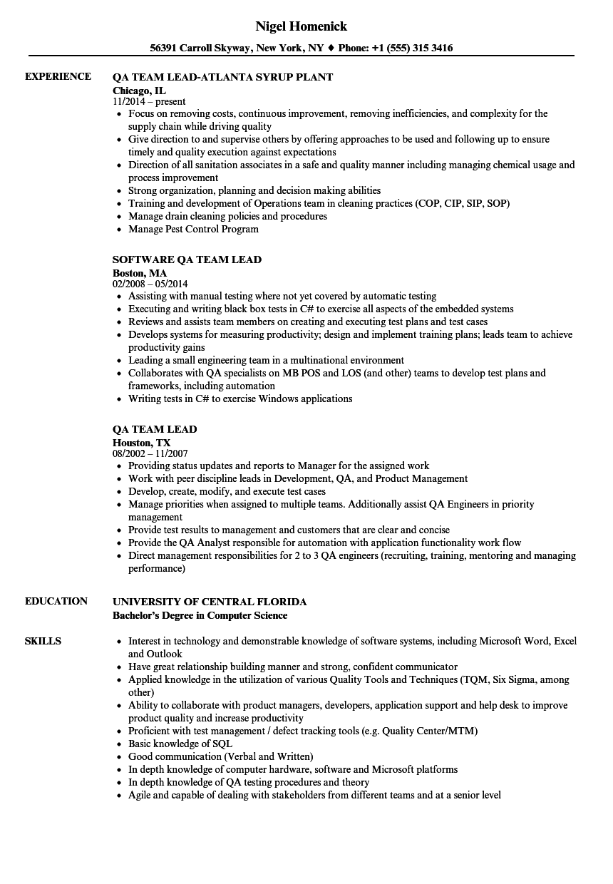 Qa Team Lead Resume Samples Velvet Jobs